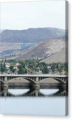 Canvas Print featuring the photograph Grand Coulee Dam And Coulee City by E Faithe Lester
