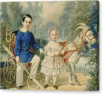 Grand Duke Alexander And Grand Duke Alexey As Children Canvas Print