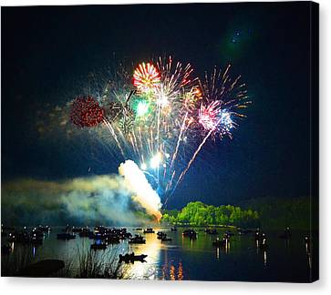 Grand Finale Over The Lake Canvas Print by Sandi OReilly
