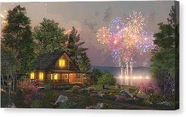 Log Cabin Canvas Print - Grand Finale by Randy Earles