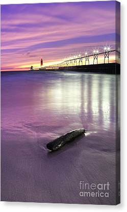 Grand Haven Beach And Pier Canvas Print by Twenty Two North Photography