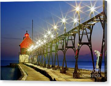 Grand Haven Front Range Lighthouse Canvas Print by Twenty Two North Photography