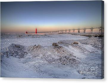 Grand Haven In January Canvas Print by Twenty Two North Photography