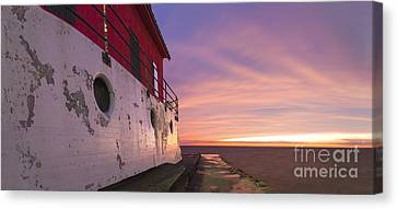 Grand Haven Lighthouse At Dusk Canvas Print by Twenty Two North Photography
