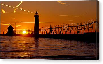 Grand Haven Lighthouse At Sunset, Grand Canvas Print by Panoramic Images