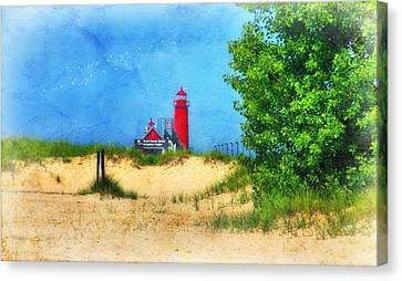 Grand Haven Lighthouse Canvas Print by Joan Bertucci