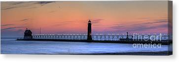 Grand Haven Lighthouses And Pier Canvas Print by Twenty Two North Photography