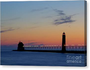 Grand Haven Pier At Sunset Canvas Print by Twenty Two North Photography