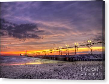 Grand Haven Sunset Canvas Print by Twenty Two North Photography