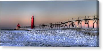 Grand Haven Winter Panorama Canvas Print by Twenty Two North Photography