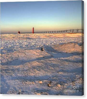 Grand Haven Winter Canvas Print by Twenty Two North Photography