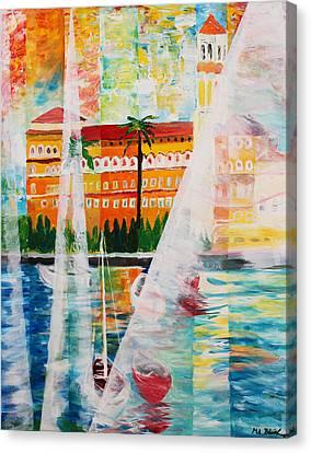 Grand Hotel  In Gardone Riviera In Sunlight Canvas Print by M Bleichner