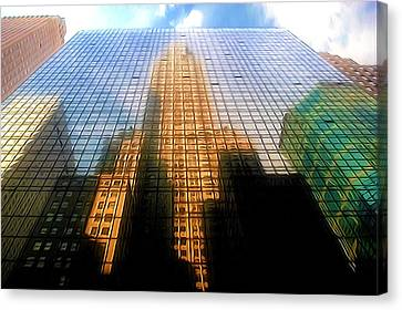 The Grand Place Canvas Print - Grand Hyatt Hotel With Reflection Of The Chrysler Building  by Lanjee Chee