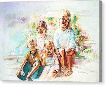 Canvas Print featuring the painting Grand Kids by Patricia Schneider Mitchell