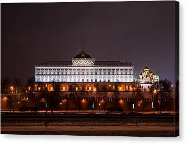 Grand Kremlin Palace At Night Canvas Print by Alexander Senin