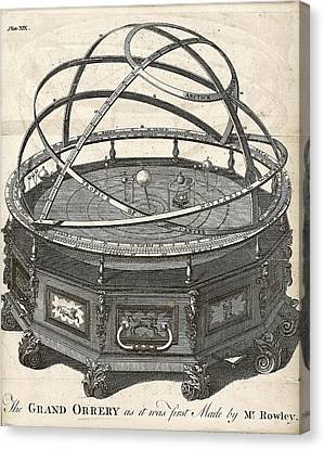 History Of Science Canvas Print - Grand Orrery By John Rowley by The General Magazine Of Arts And Sciences/new York Public Library