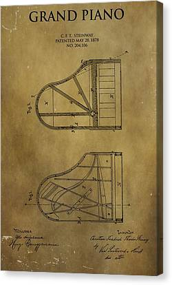 Classical Music Canvas Print - Grand Piano Patent by Dan Sproul
