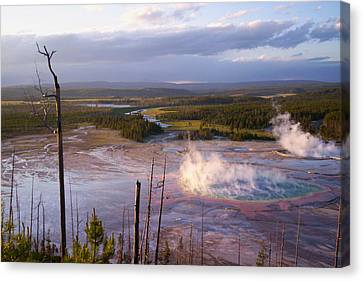 Canvas Print featuring the photograph Grand Prismatic At Dusk by Jon Emery