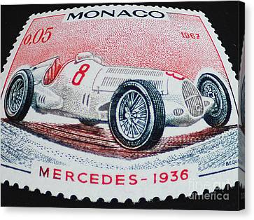Grand Prix De Monaco 1936 Vintage Postage Stamp Print Canvas Print by Andy Prendy