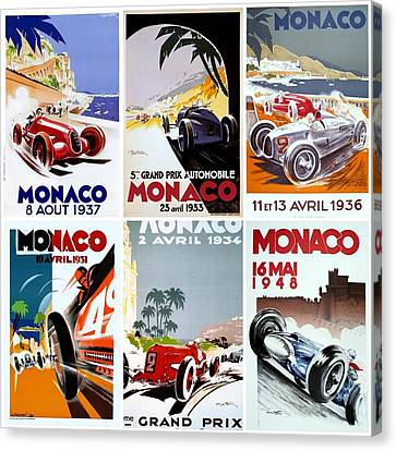 Grand Prix Of Monaco Vintage Poster Collage Canvas Print