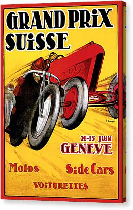 Grand Prix Suisse Geneve Canvas Print by Vintage Automobile Ads and Posters