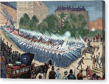 Grand Procession To The Electric Light Canvas Print by Prisma Archivo