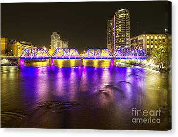 Grand Rapids At Night Canvas Print by Twenty Two North Photography