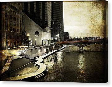 Grand Rapids Grand River Canvas Print by Evie Carrier