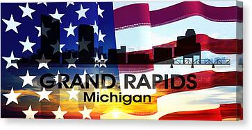 Grand Rapids Mi Patriotic Large Cityscape Canvas Print
