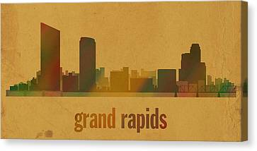 Grand Rapids Michigan City Skyline Watercolor On Parchment Canvas Print