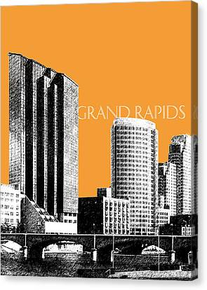 Grand Rapids Skyline - Orange Canvas Print by DB Artist