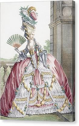 Ball Gown Canvas Print - Grand Robe A La Francais, Engraved by Claude Louis Desrais
