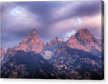 Canvas Print featuring the photograph Grand Teton In Morning Clouds by Alan Vance Ley