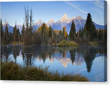 Canvas Print featuring the photograph Grand Teton Morning Reflection by Sonya Lang