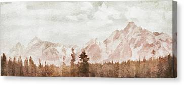 Canvas Print featuring the painting Grand Teton Mountains by Greg Collins