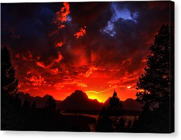 Grand Teton Sunset Canvas Print by Aidan Moran