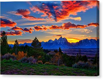 Grand Teton Sunset Canvas Print by Greg Norrell