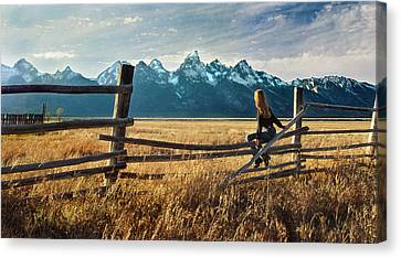 Grand Tetons And Girl On Fence Canvas Print