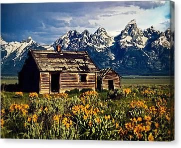 Canvas Print featuring the photograph Grand Tetons Cabin by John Haldane