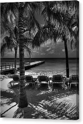 Grand Turk Vacation 002 Bw Canvas Print by Lance Vaughn