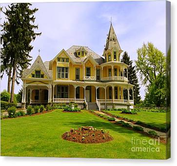 Canvas Print featuring the photograph Grand Yellow Victorian by Becky Lupe