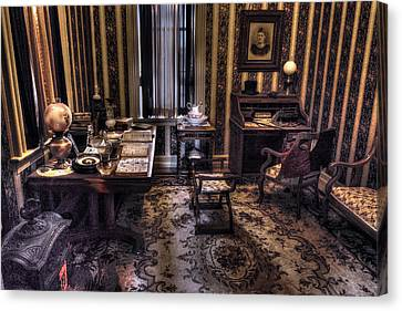 Oil Lamp Canvas Print - Grandfather's Office by William Fields
