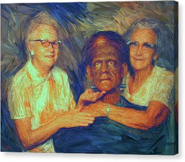 Grandma And Aunt With Frank Canvas Print by Gerhardt Isringhaus
