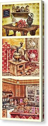 Grandma Kitchen Triptic Canvas Print by Mo T