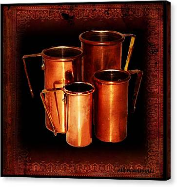 Grandma's Kitchen-copper Measuring Cups Canvas Print by Ellen Cannon