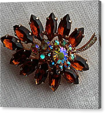 Grandmas Topaz Brooch - Treasured Heirloom Canvas Print by Barbara Griffin