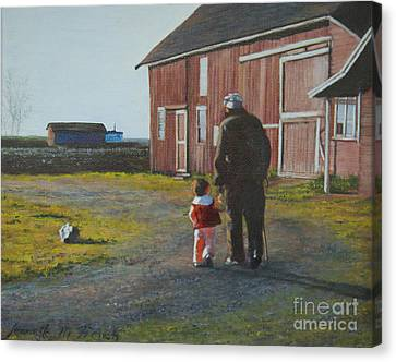 Grandpa And Me Canvas Print by Jeanette French