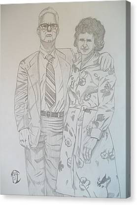 Canvas Print featuring the drawing Grandparents Of Late 1970s by Justin Moore