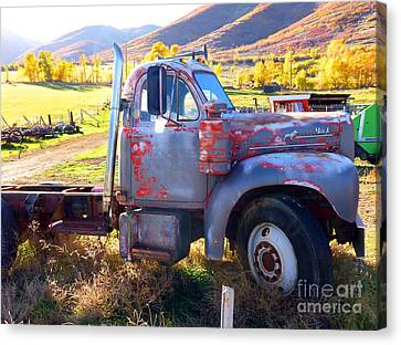 Canvas Print featuring the photograph Grandpa's Mack Truck by Jackie Carpenter