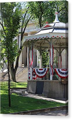 Canvas Print featuring the photograph Grandstand Patriotism  by Natalie Ortiz